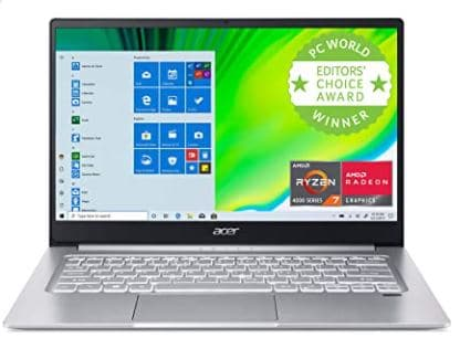 Acer Swift 3 Thin & Light Laptop, 14 inches Full HD IPS, AMD Ryzen 7 4700U Octa-Core with Radeon Graphics, 8GB LPDDR4, 512GB NVMe SSD, Wi-Fi 6, Backlit KB, Fingerprint Reader, Alexa Built-in, SF314-42-R9YN