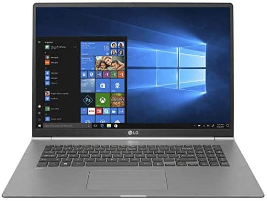 LG gram Thin and Light Laptop - 17 inches (2560 x 1600) IPS Display, Intel 8th Gen Core i7, 16GB RAM, 512GB SSD, up to 19.5 Hour Battery, Thunderbolt 3 - 17Z990-R.AAS8U1 (2019), Dark Silver
